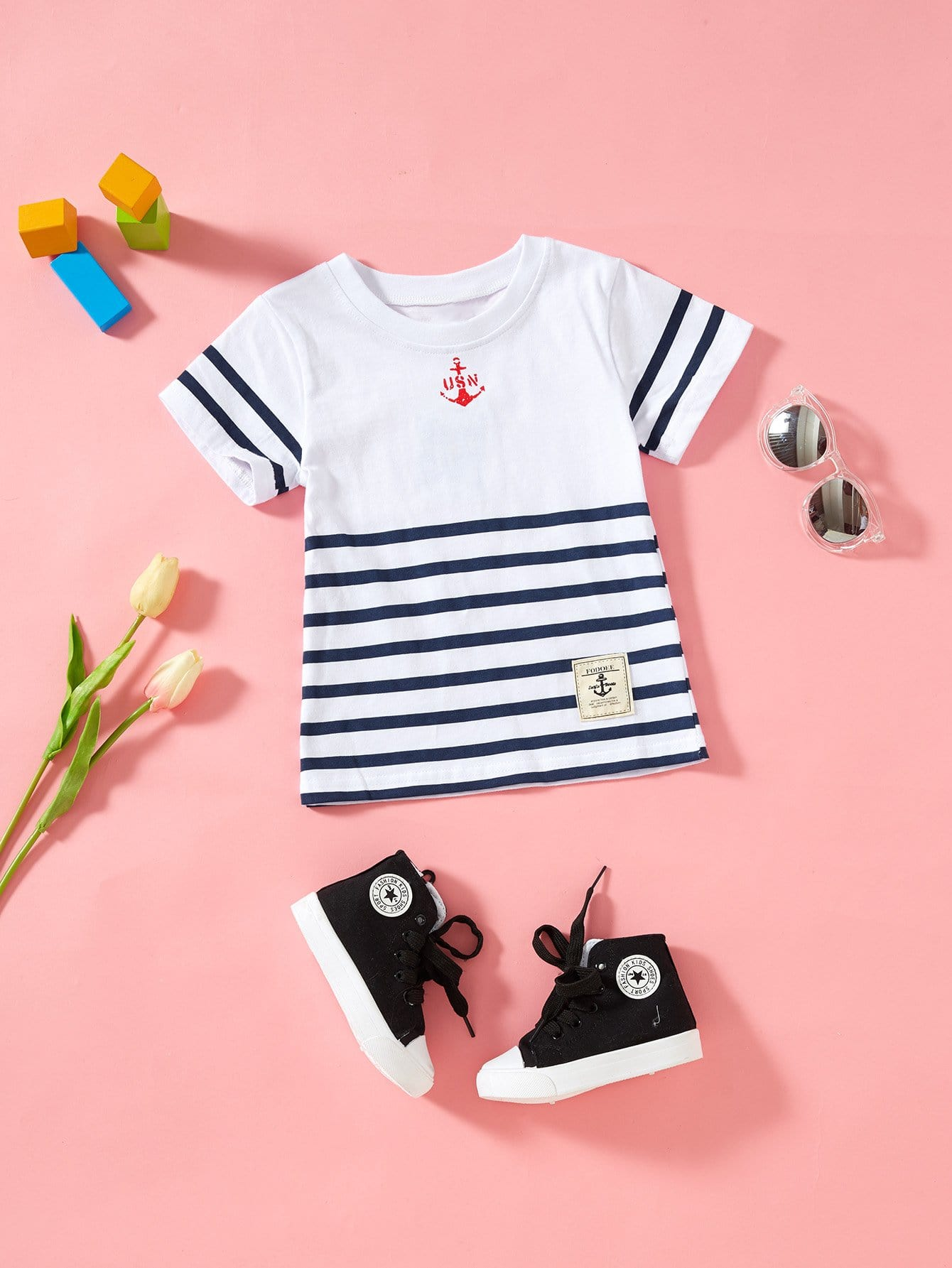 Boys Patched Detail Striped Tee