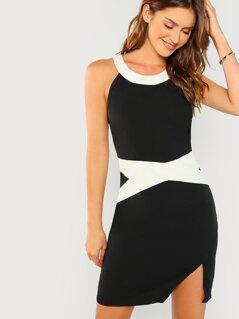Contrast Tape Halter Dress