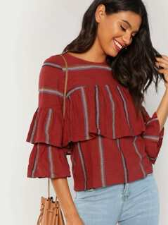 Embroidered Striped Ruffle Blouse