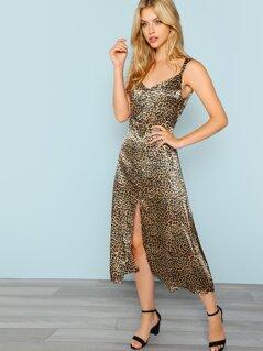 Front Slit Leopard Dress