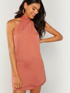 Satin Neck Tie Sleeveless Dress