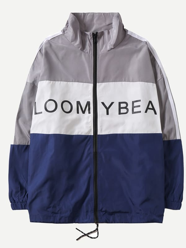 Men Letter Print Cut And Sew Panel Jacket