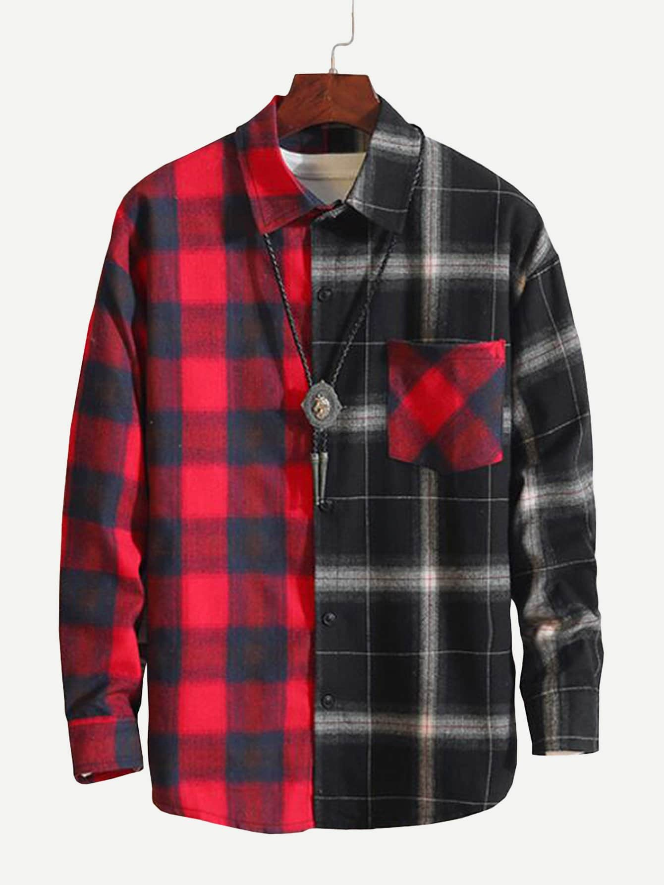 Men Contrast Plaid Shirt
