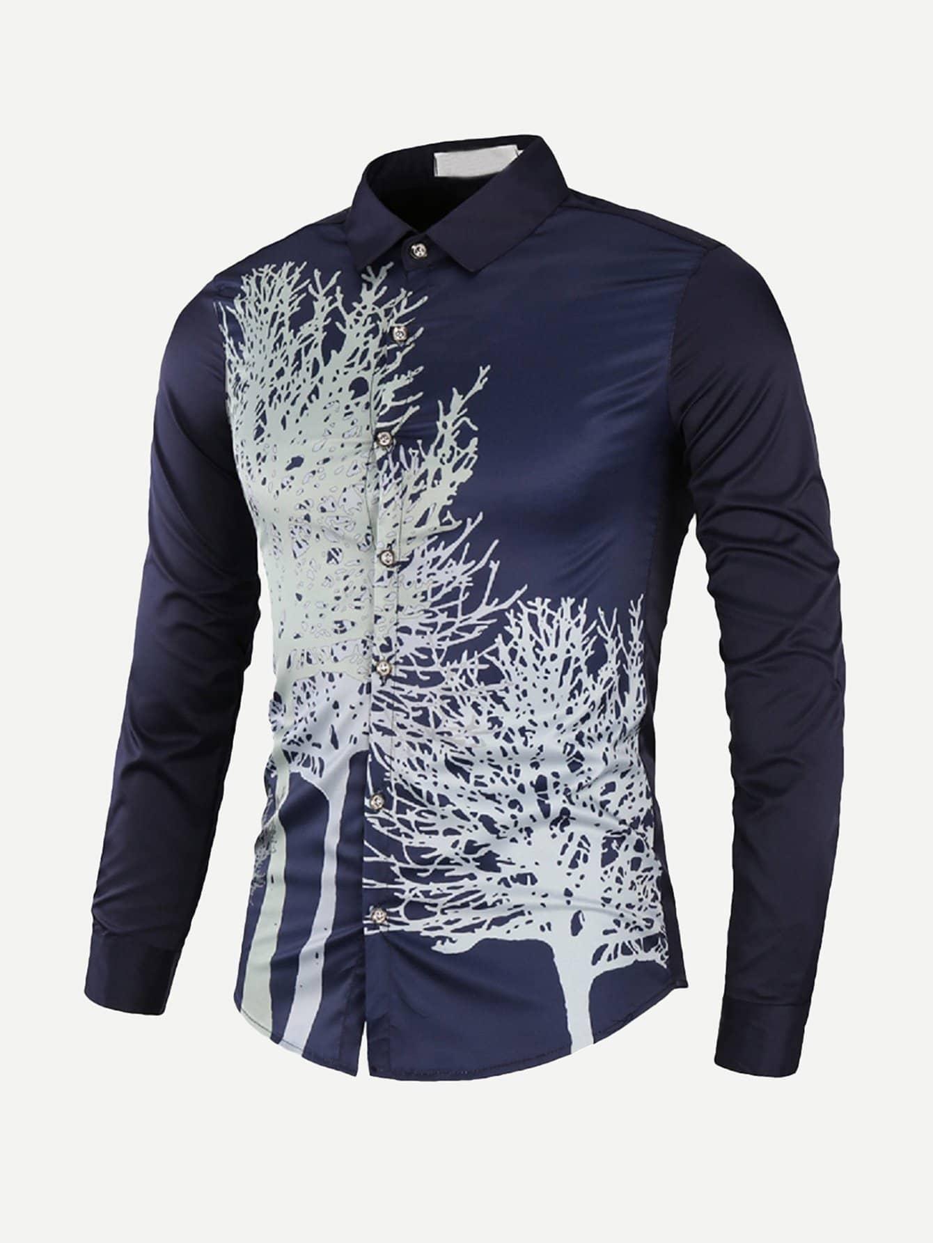 Men Tree Print Curved Hem Shirt устройство зарядное цифровое autoprofi агрессор agr sbc 150 start 9 фаз зарядки ток 2 6 10 15 а