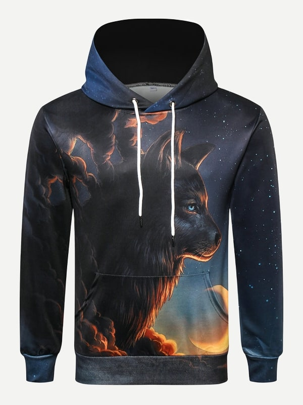 Купить Пуловер с капюшоном и с рисунком волны для мужчины, null, SheIn