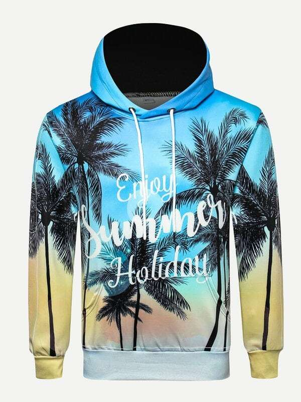 Men Letter And Tropical Print Hooded Sweatshirt