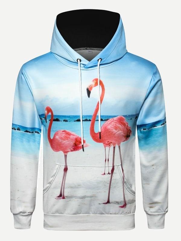 Купить Пуловер с капюшоном и с рисунками фламинго для мужчины, null, SheIn