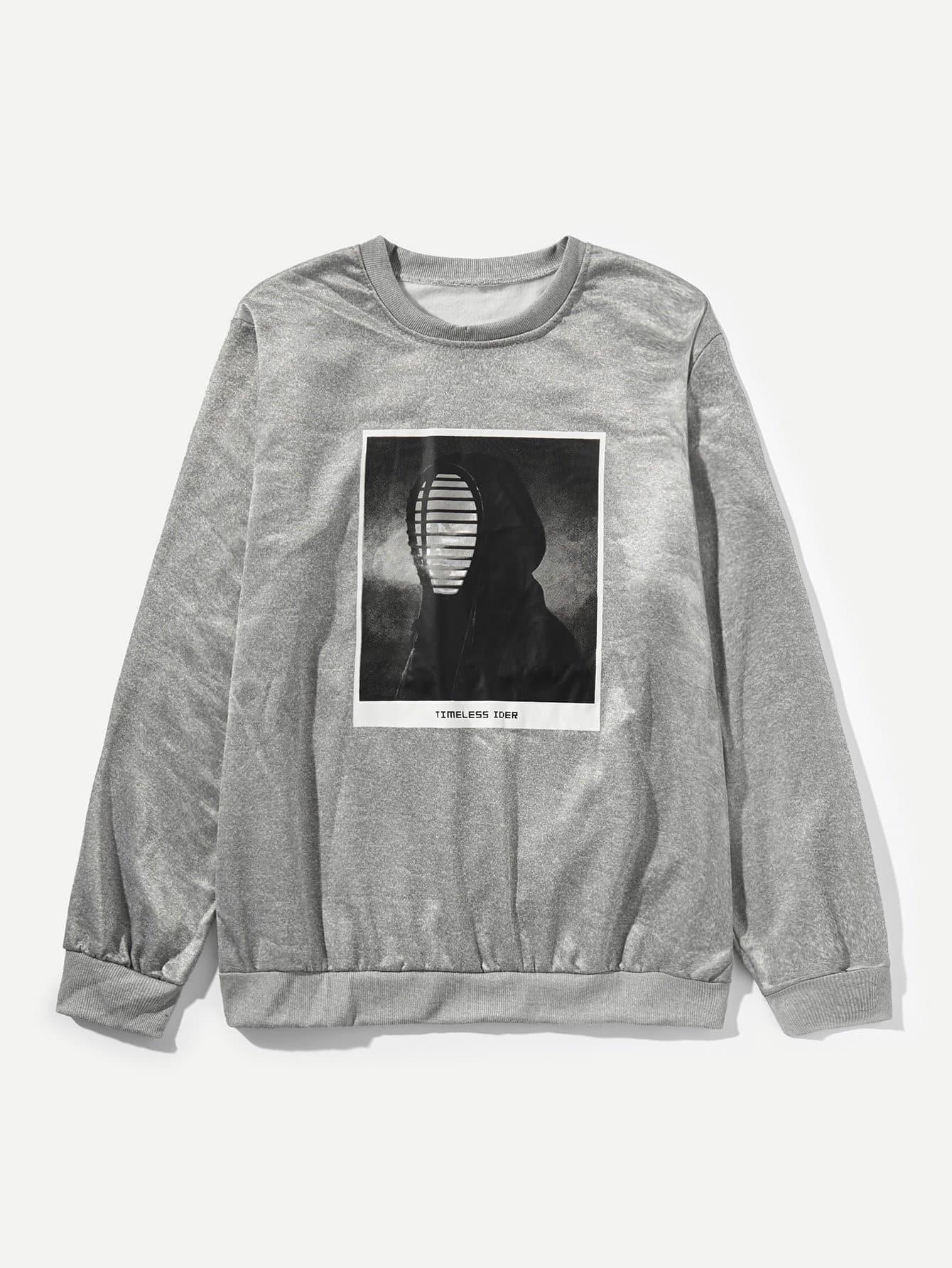 Купить Пуловер с рисунками цифры и буквы для мужчины, null, SheIn