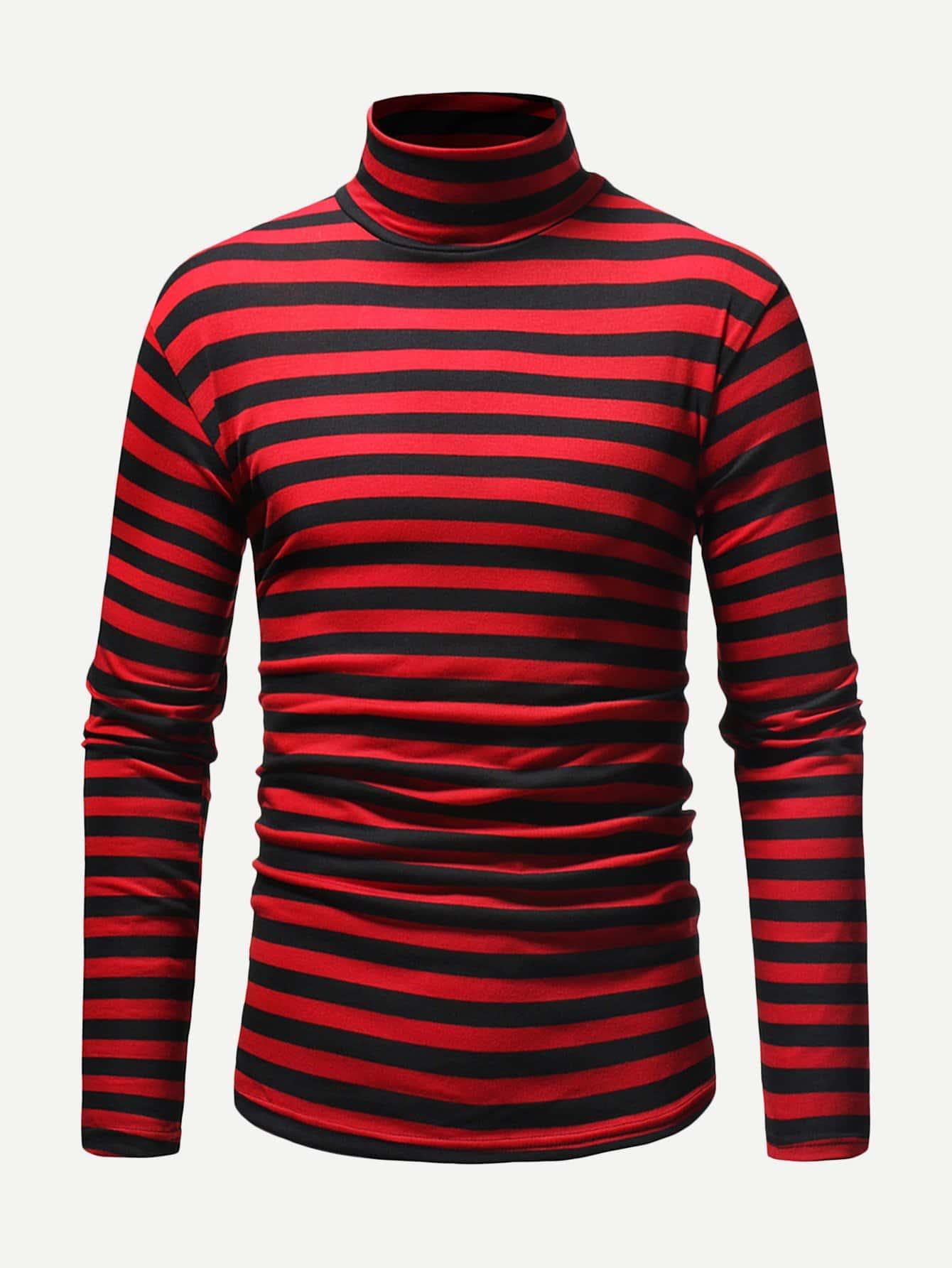 Купить Полосатая футболка с длинными рукавами для мужчины, null, SheIn