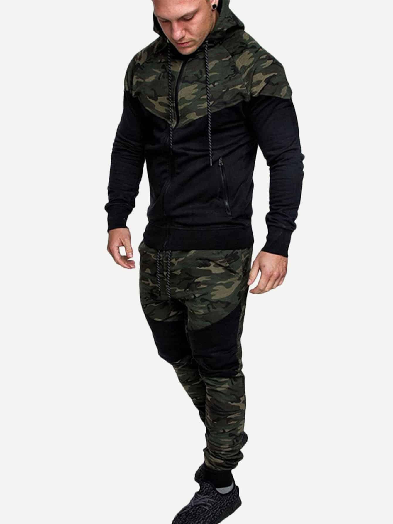 Симметрическая камуфляжная ветровка с капюшоном и брюки с басоном эластичным для мужчины от SheIn