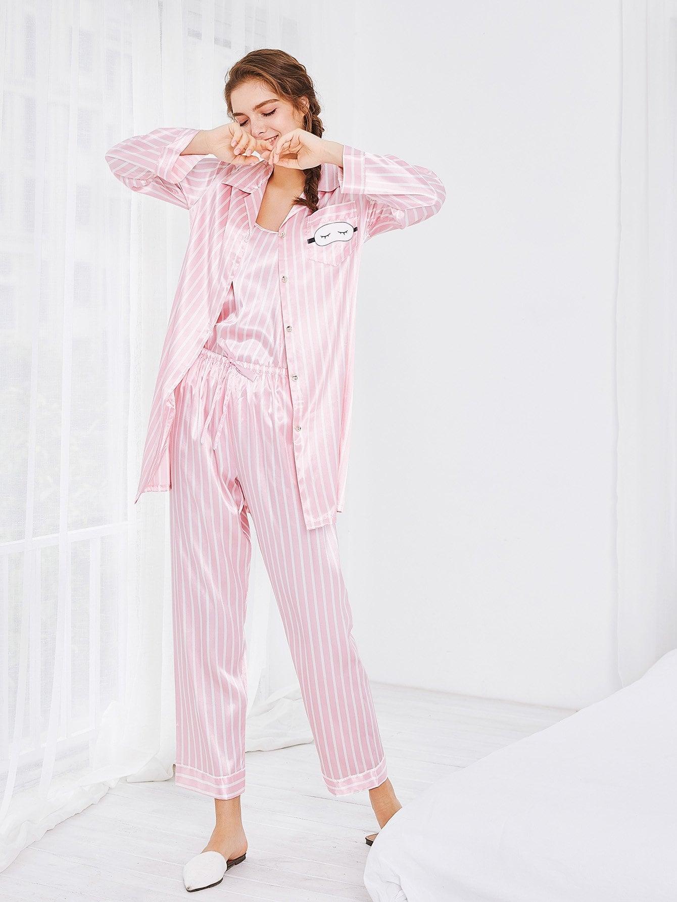 6pcs Cami Pajama Set mit Streifen und Bluse