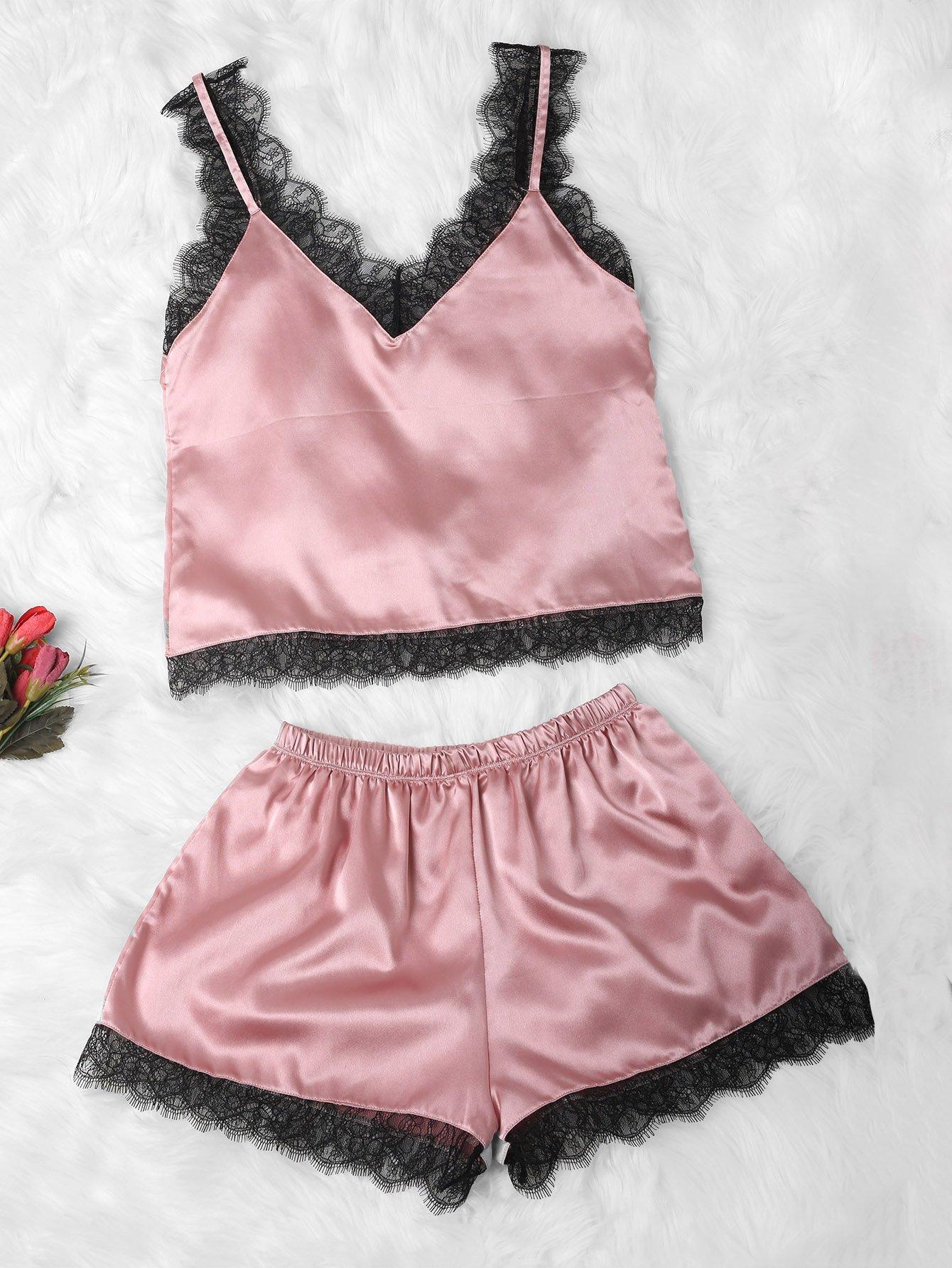 Купить Комплект кружевной пижамы на бретелях, null, SheIn