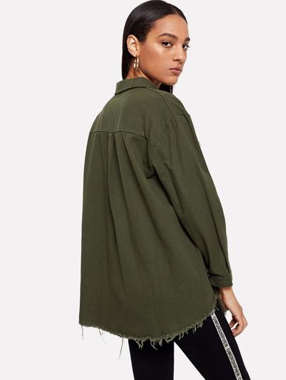 Romwe / Dual Pocket Raw Hem Coat