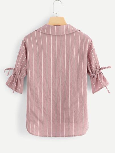 Romwe / Dip Hem Striped Knot Shirt
