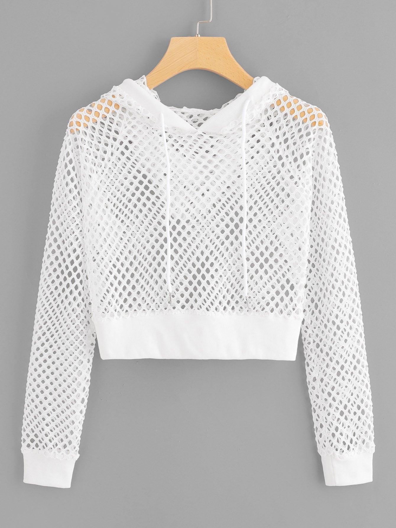 Купить Пуловер с капюшоном и с басоном эластичным, null, SheIn