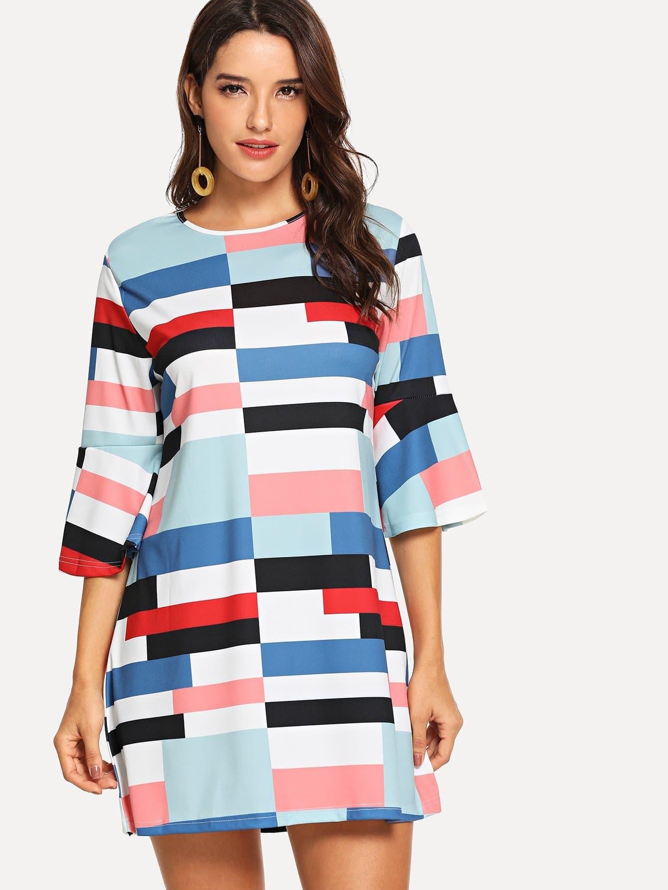 Купить Геометрическое контрастное платье с оборками рукавами, Juliana, SheIn