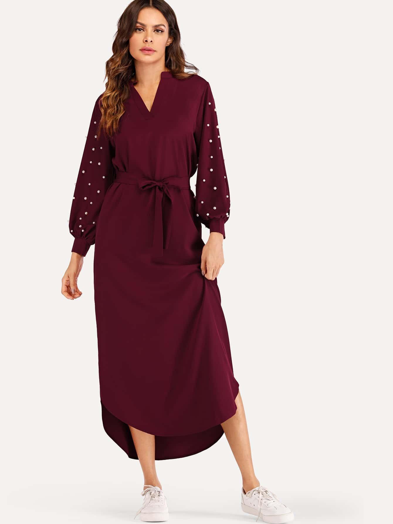Купить Одноцветное платье с поясом и украшено жемчугами, Andy, SheIn
