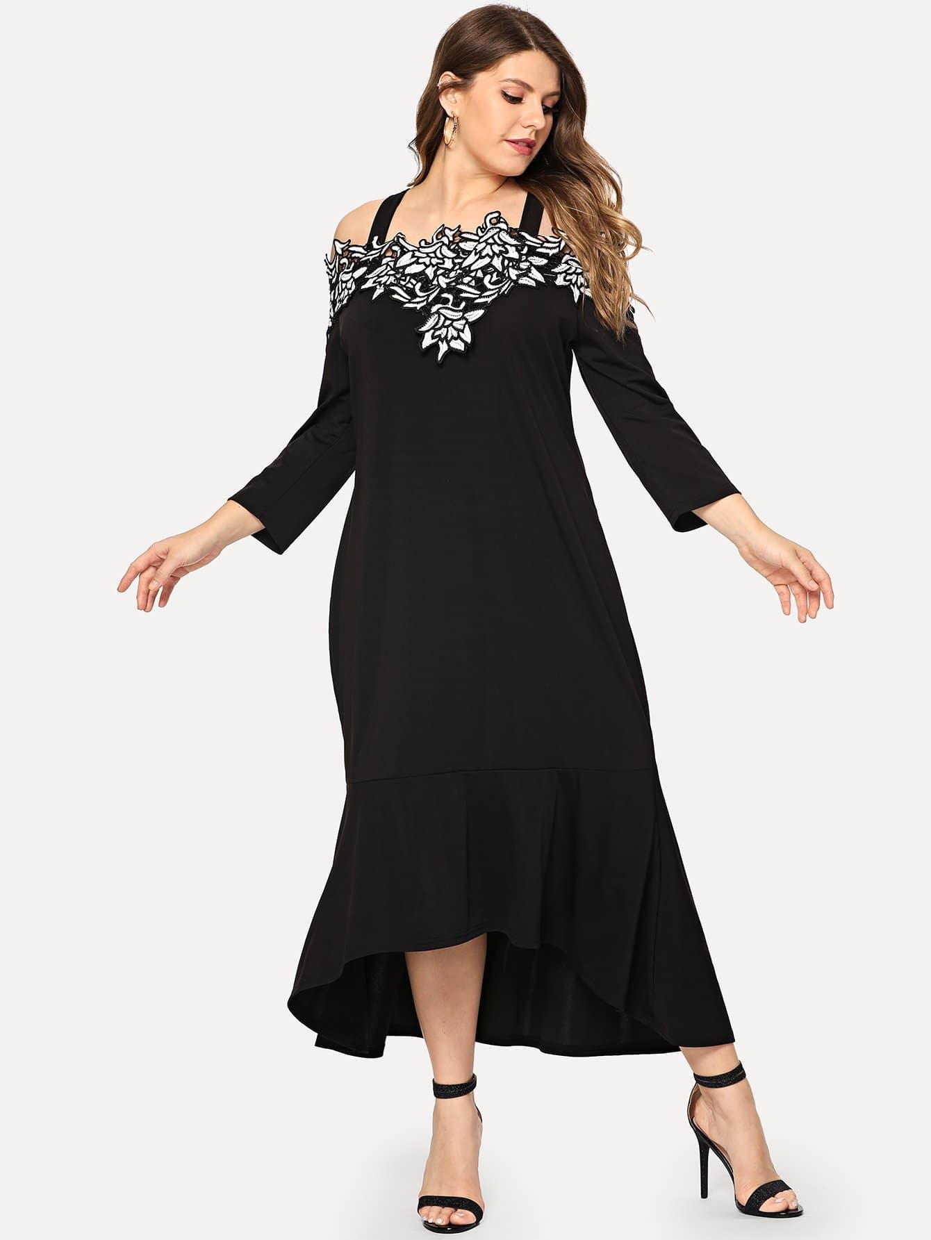 Купить Большое ситцевое платье с открытыми плечами, Isabela, SheIn