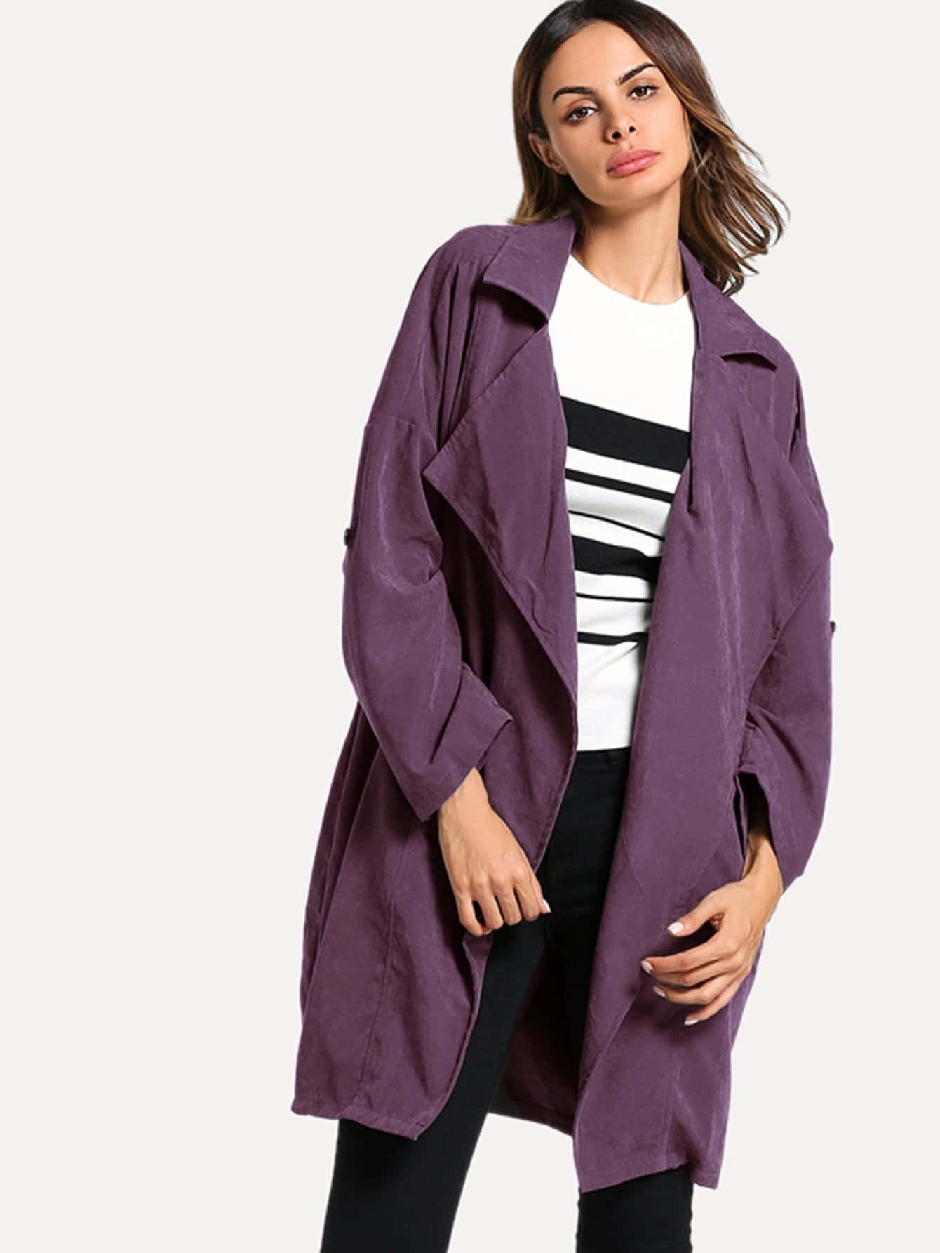 Revere Collar Rolled Sleeve Coat