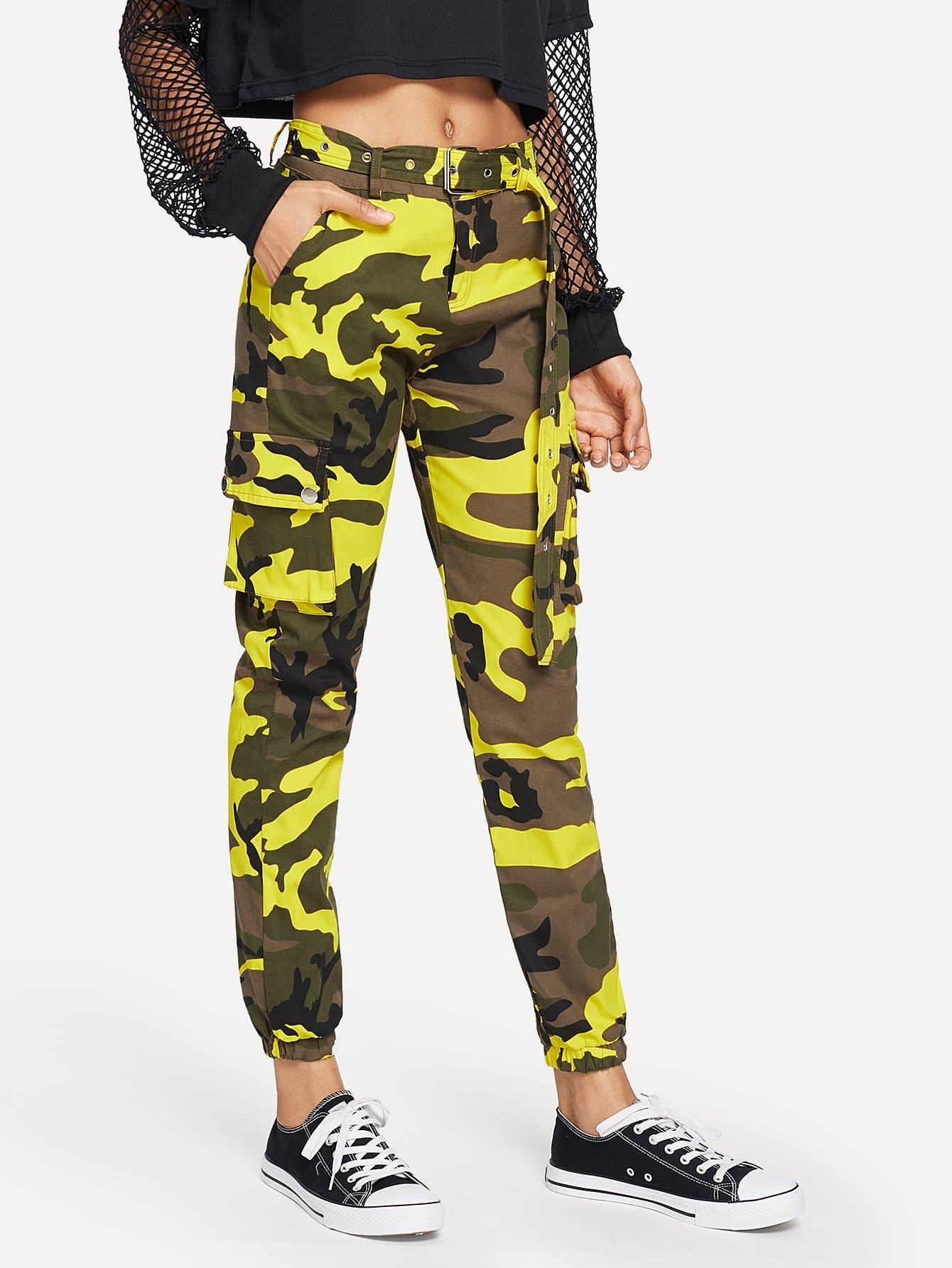 Купить Камуфляжный брюки с поясом и карманами, Ana, SheIn