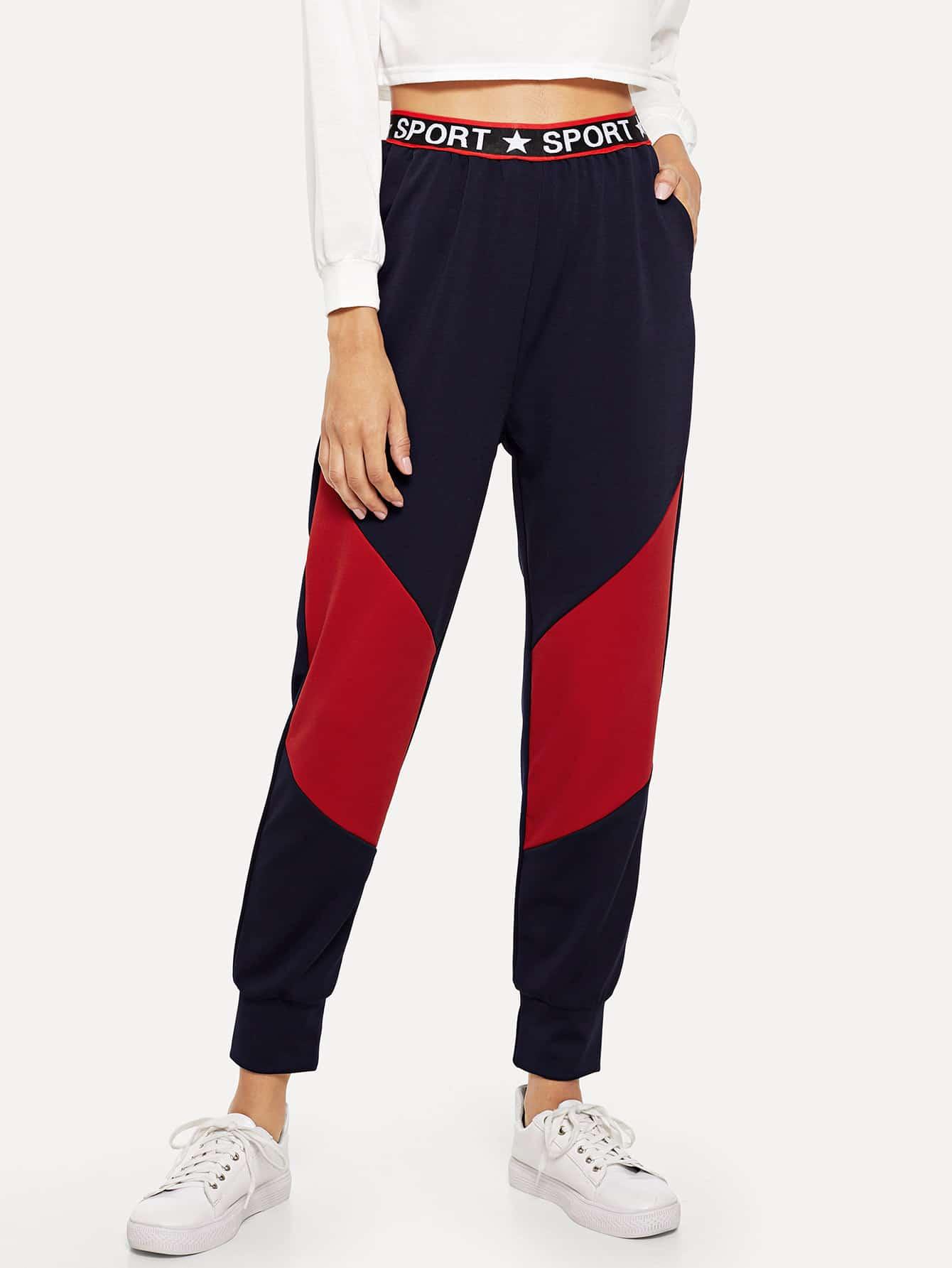 Купить Контрастные брюки с текстовым принтом на пояснице, Kary, SheIn