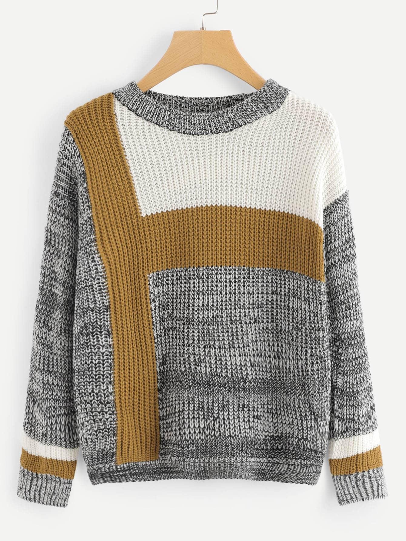 Купить Трикотажный контрастный свитер, null, SheIn