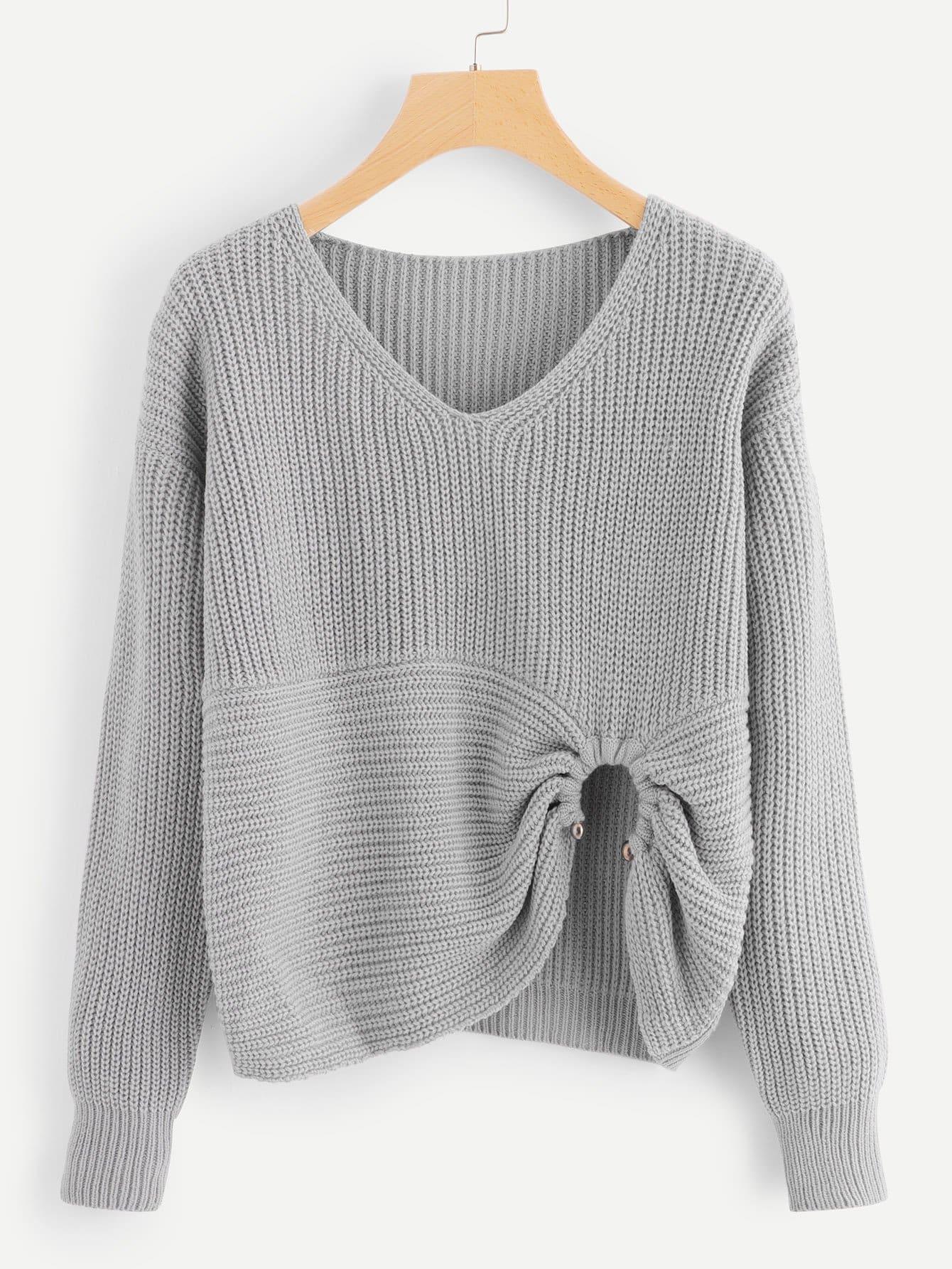 Ring Detail Asymmetrical Hem Sweater
