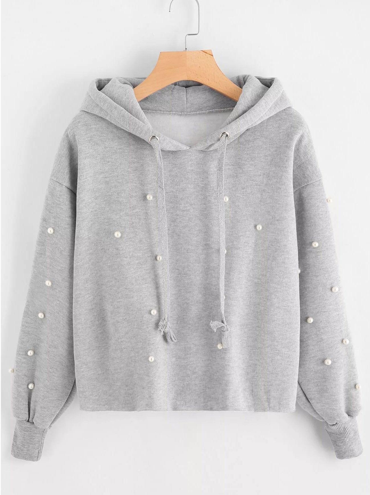 Купить Большой пуловер с капюшоном и с украшением искусственных жемчугов, null, SheIn