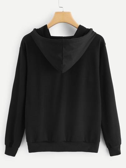 Romwe / Figure Print Ribbon Tape Detail Sweatshirt
