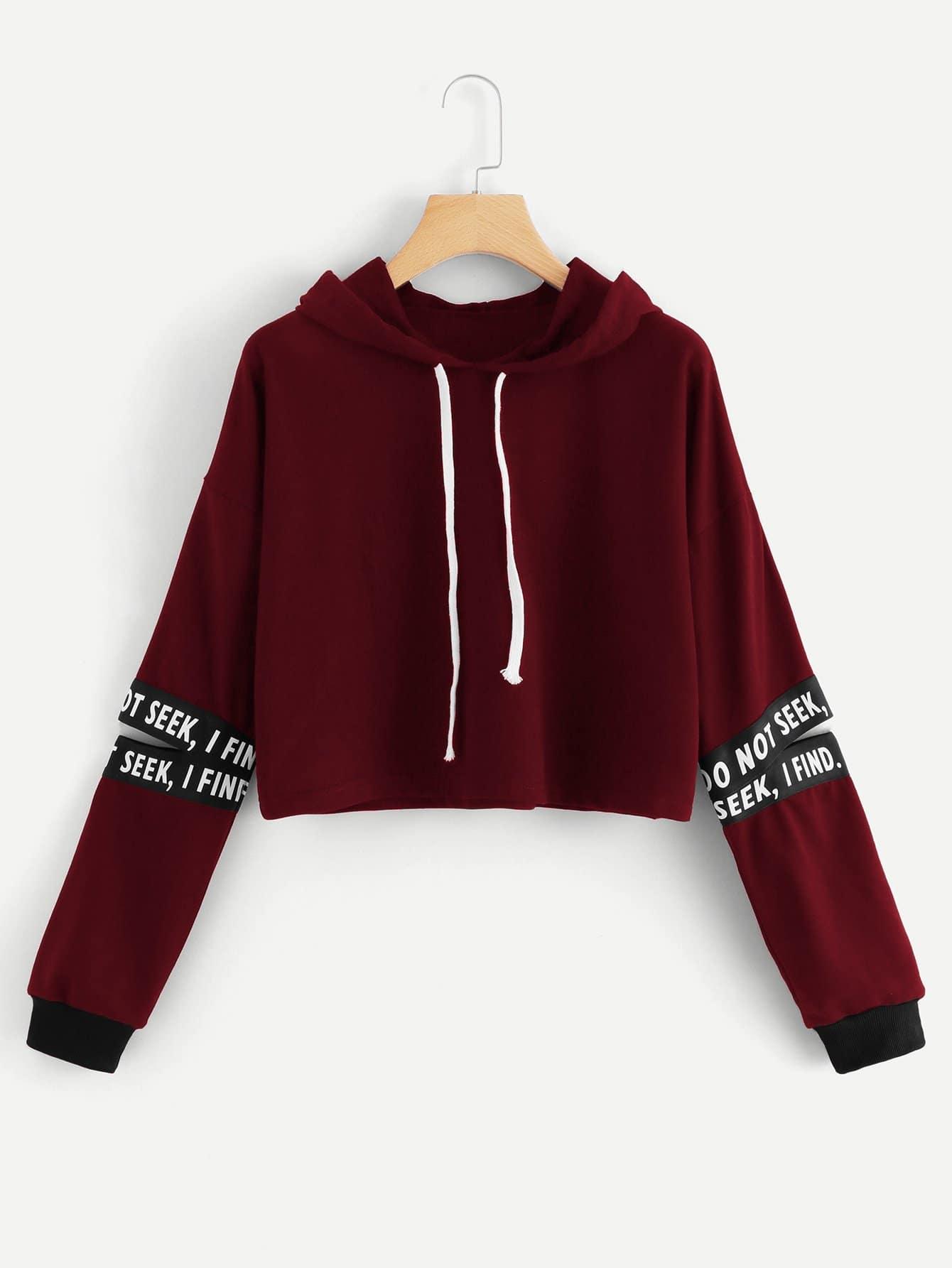 Random Letter Tape Split Sleeve Sweatshirt