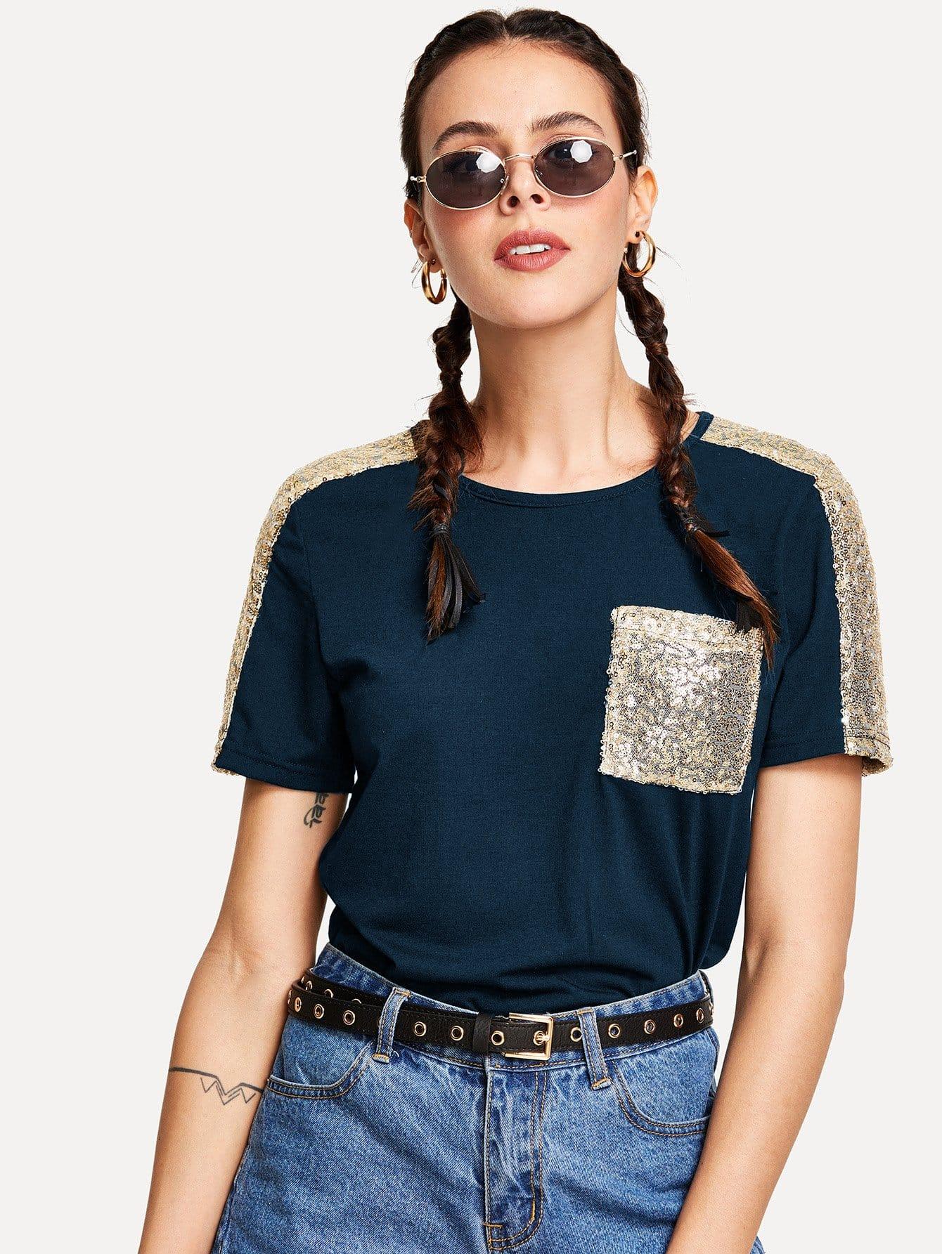 Купить Контрастная футболка с блестками, Karla, SheIn