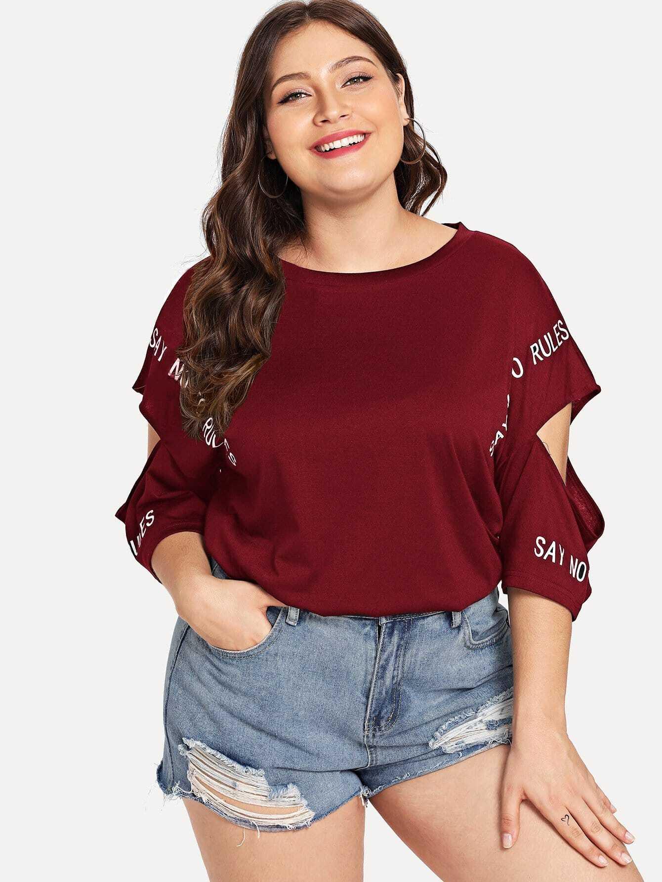 Купить Большая футболка с открытыми плечами и с рисунками буквы, Carol, SheIn