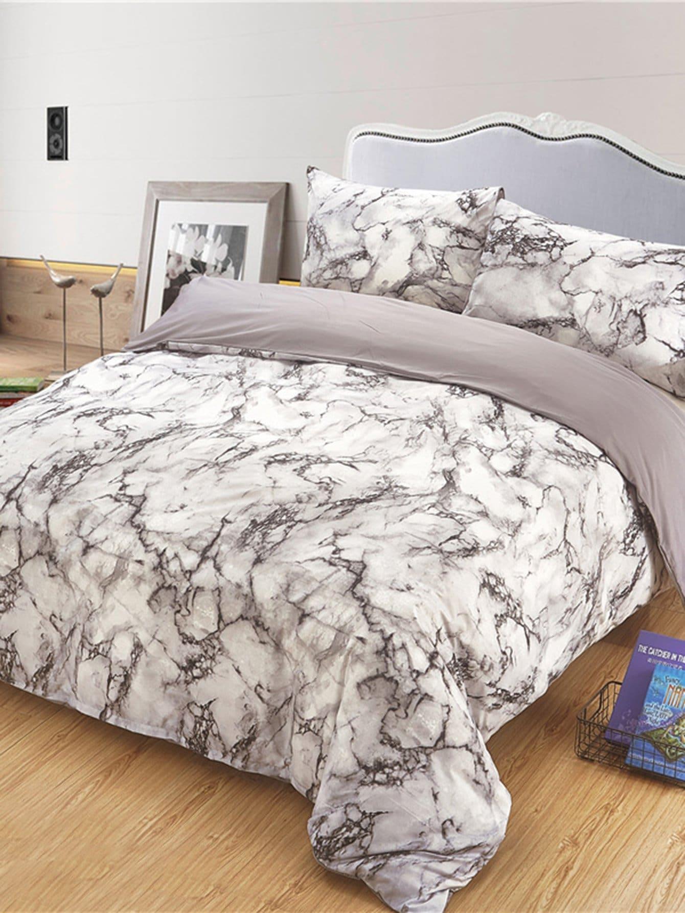 Купить Бархатное постельное бельё с рисунками мрамора 1 шт, null, SheIn