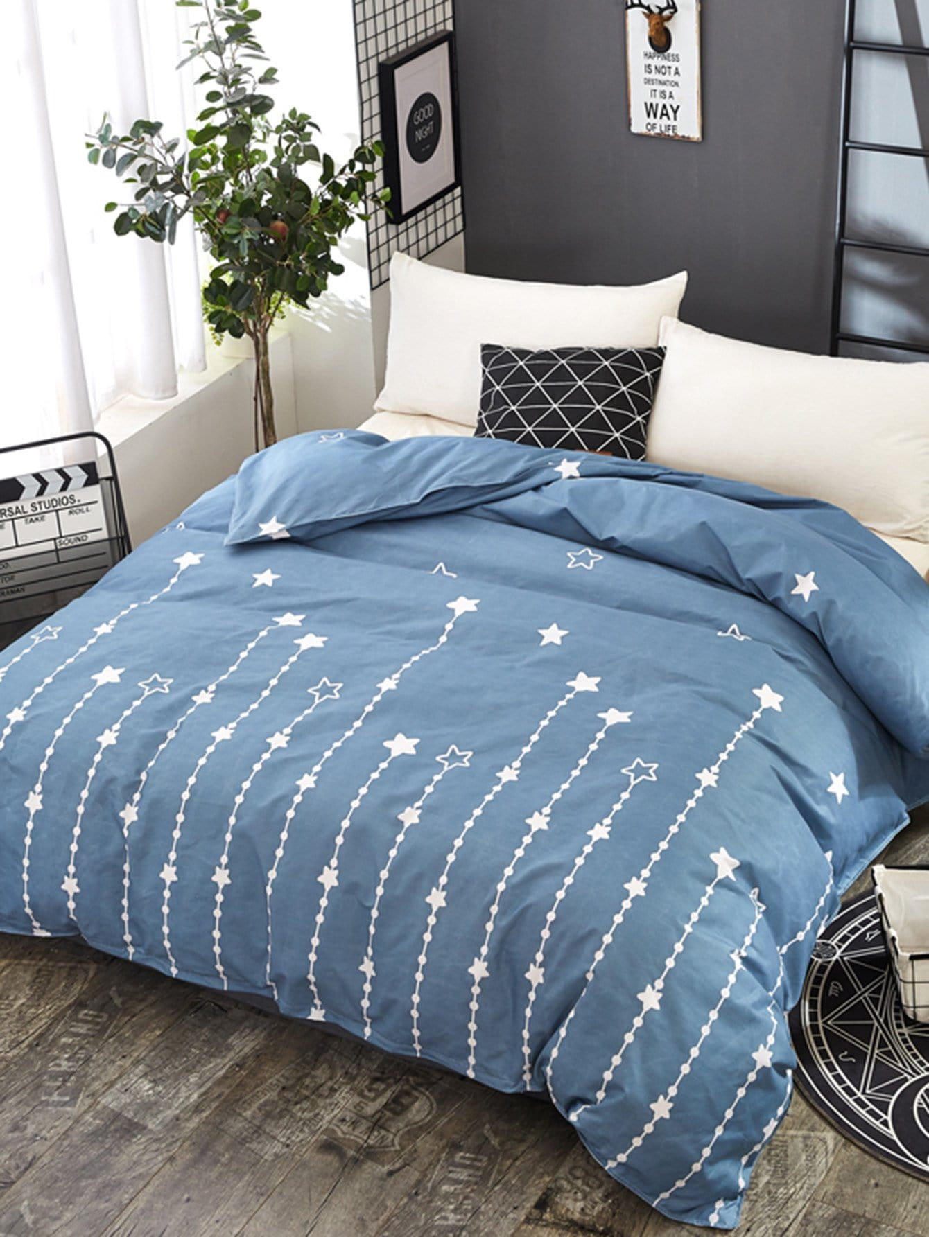Купить Бархатное постельное бельё с рисунками звезд 1 шт, null, SheIn