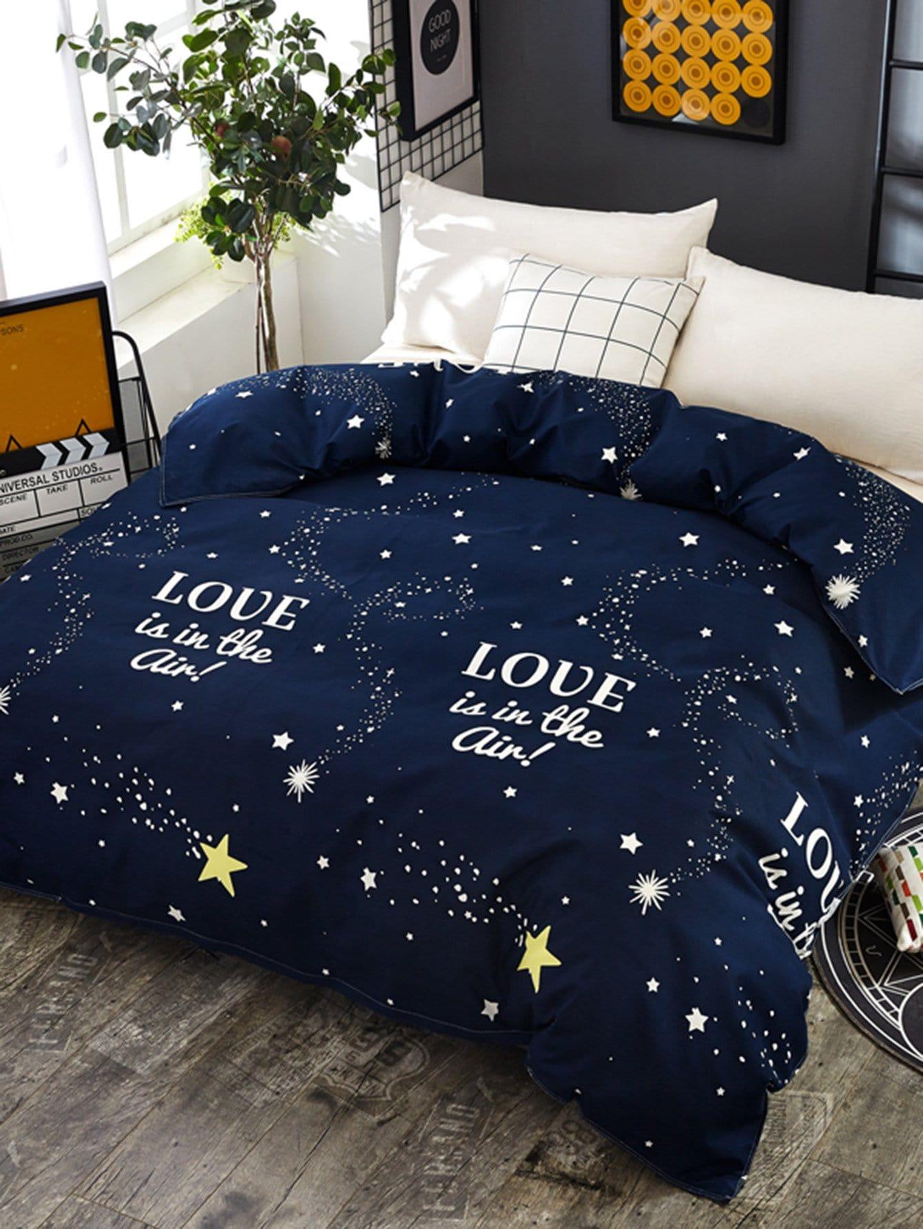 Купить Бархатное постельное бельё с рисунками звезд и буквы 1 шт, null, SheIn