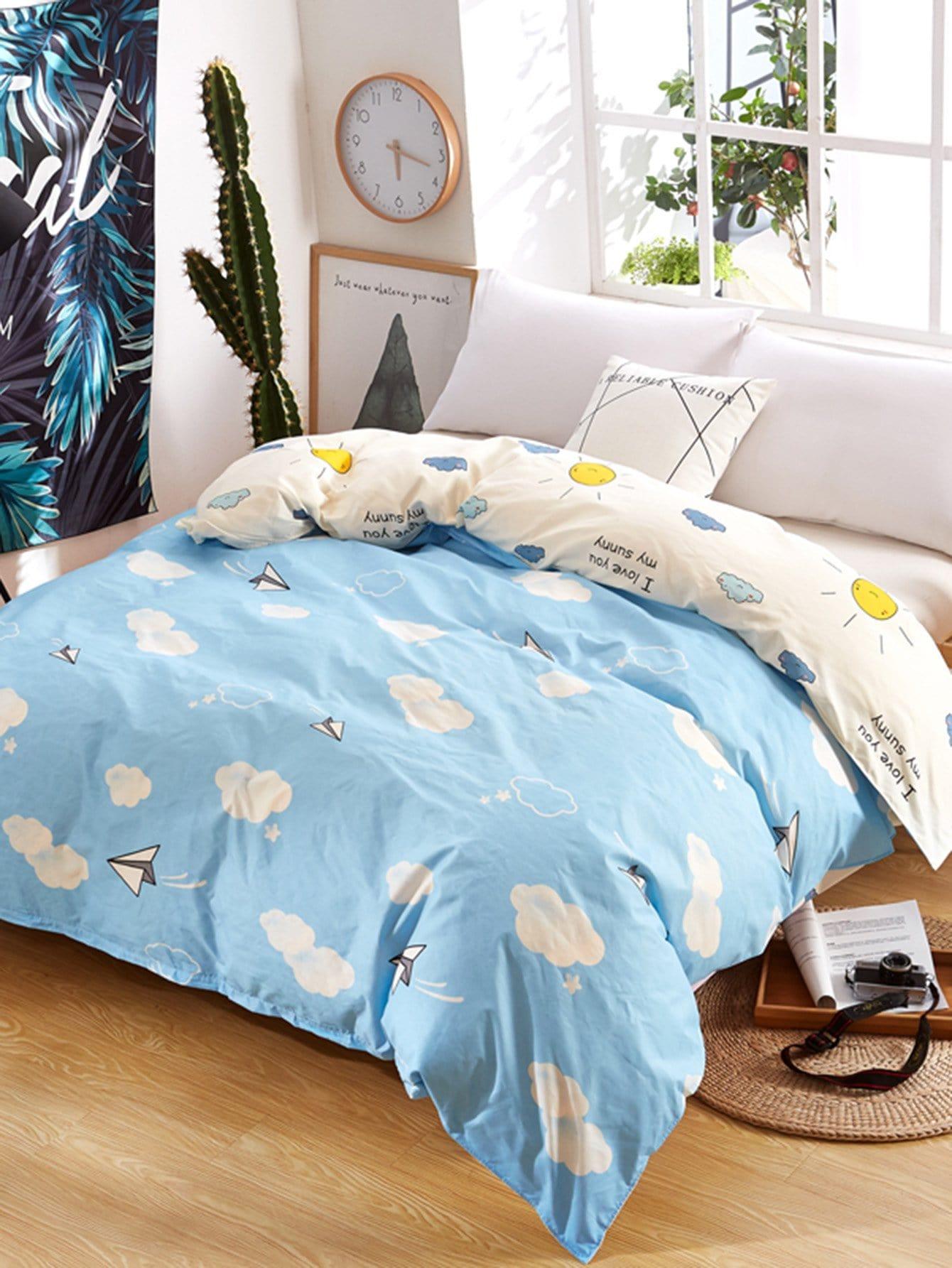Купить Бархатное постельное бельё с рисунками облак и солнца 1 шт, null, SheIn