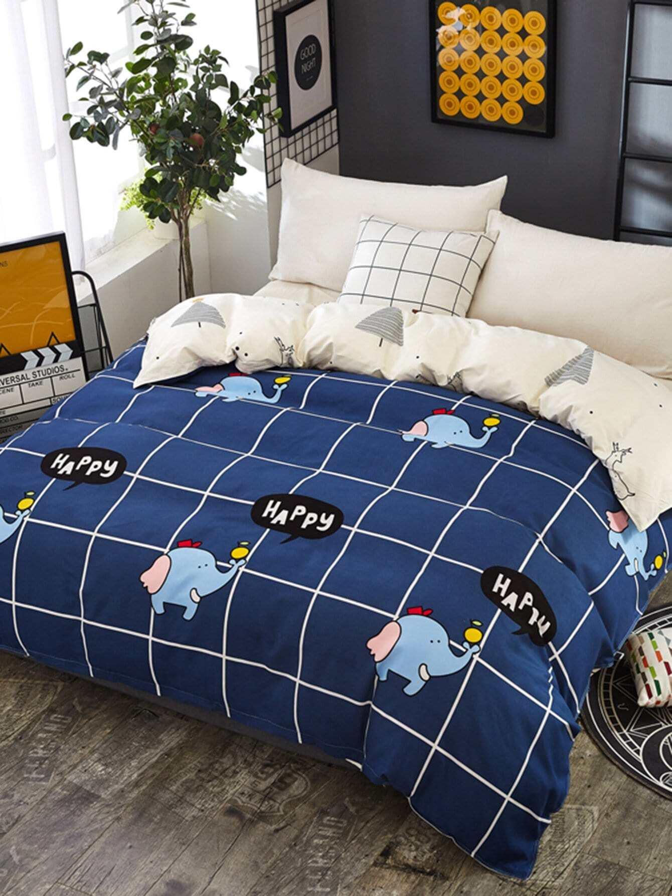 Купить Бархатное постельное бельё в клетку с рисунками слона 1 шт, null, SheIn