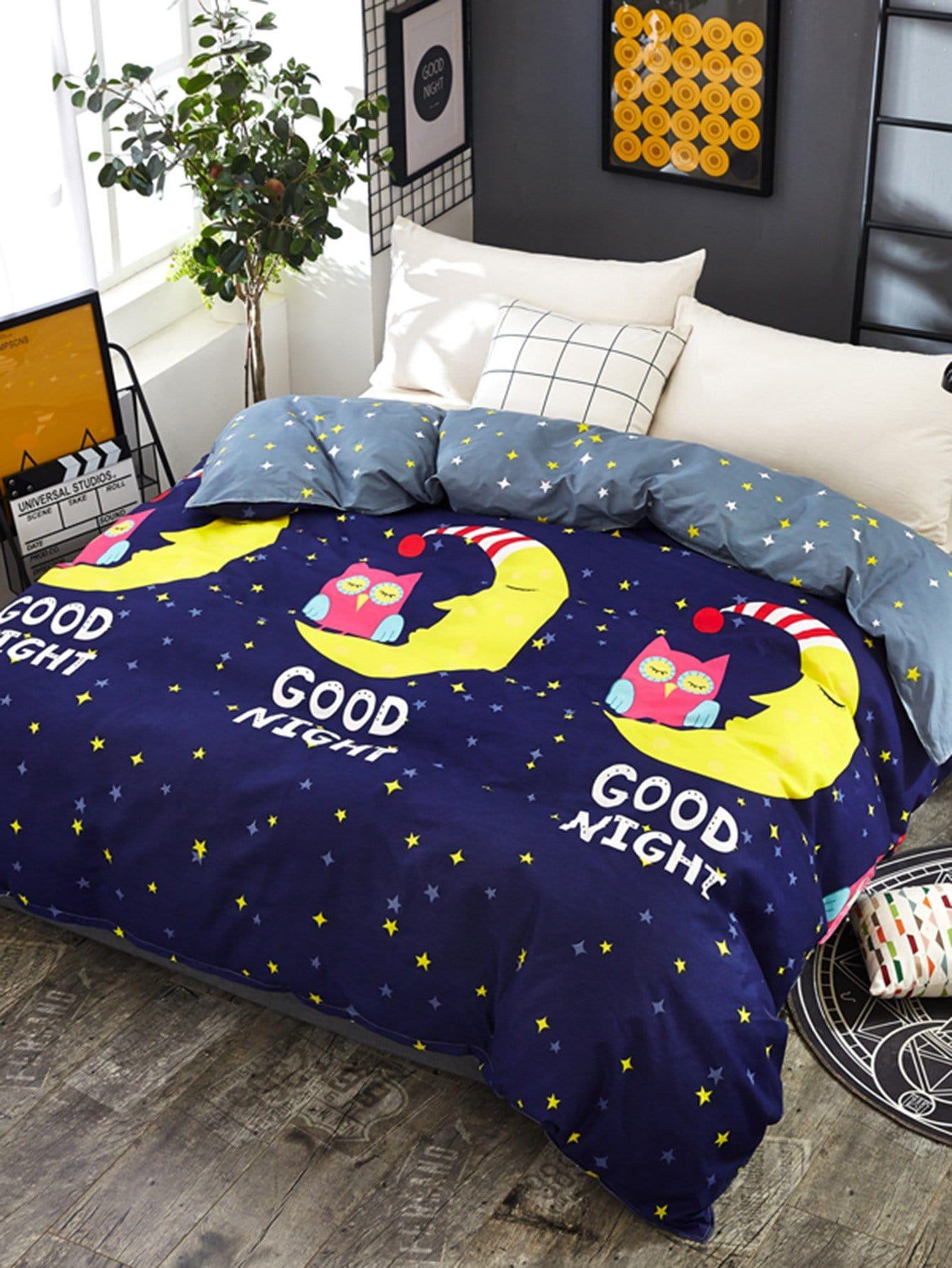 Купить Бархатное постельное бельё с рисунками буквы и луны 1 шт, null, SheIn