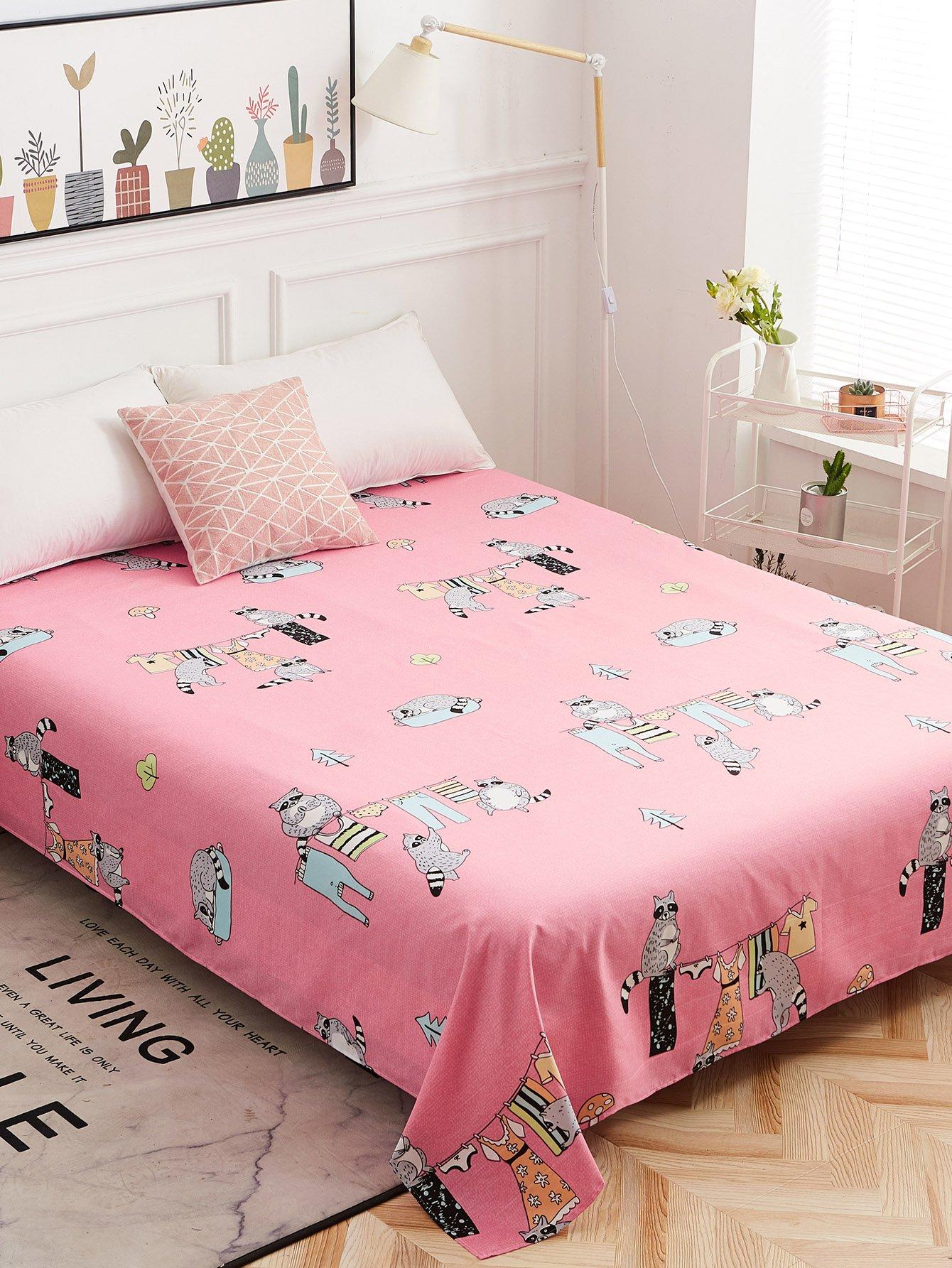 Купить Плоское постельное бельё с рисунками мультипликаций 1 шт, null, SheIn