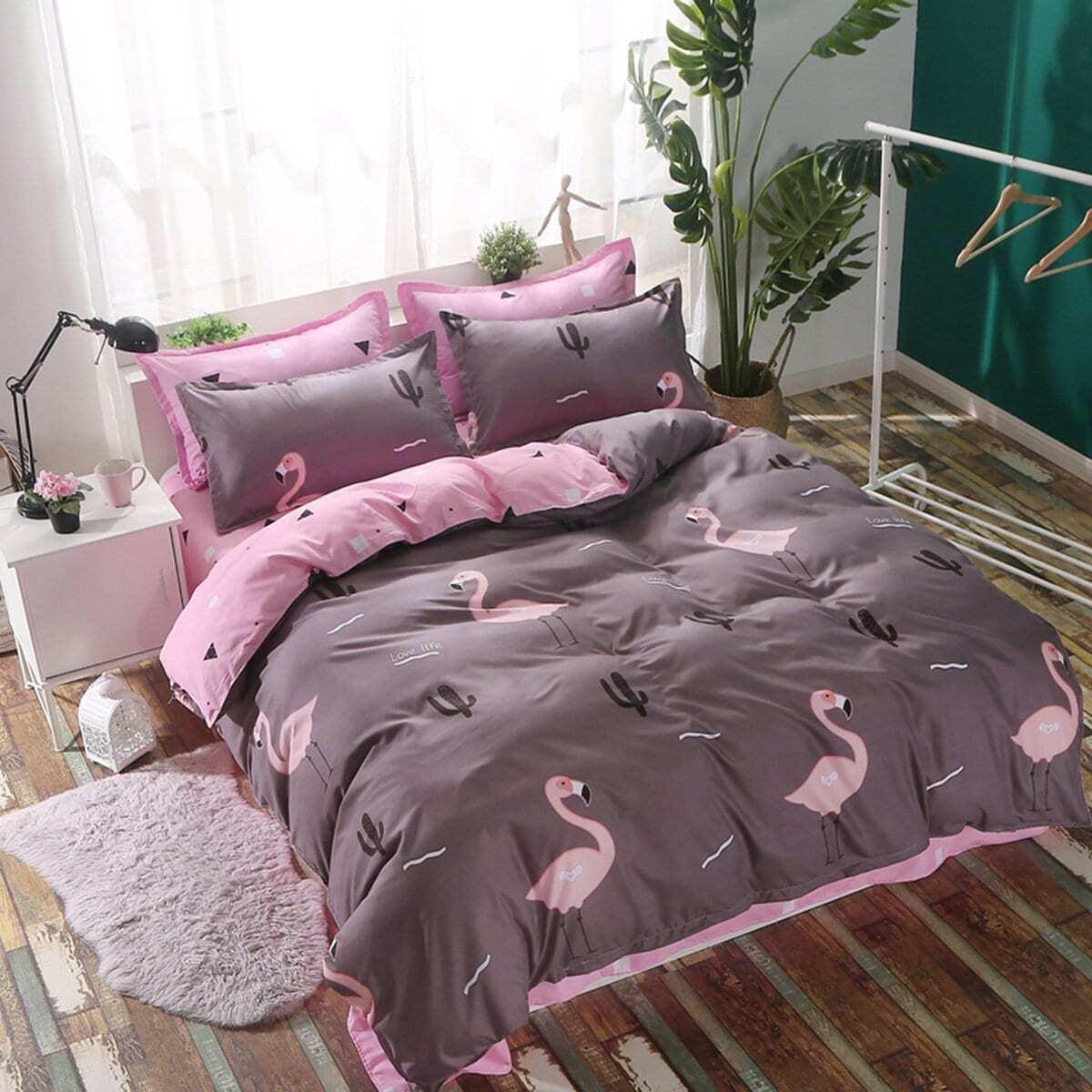 Beddengoedset met Flamingo en Plant Print