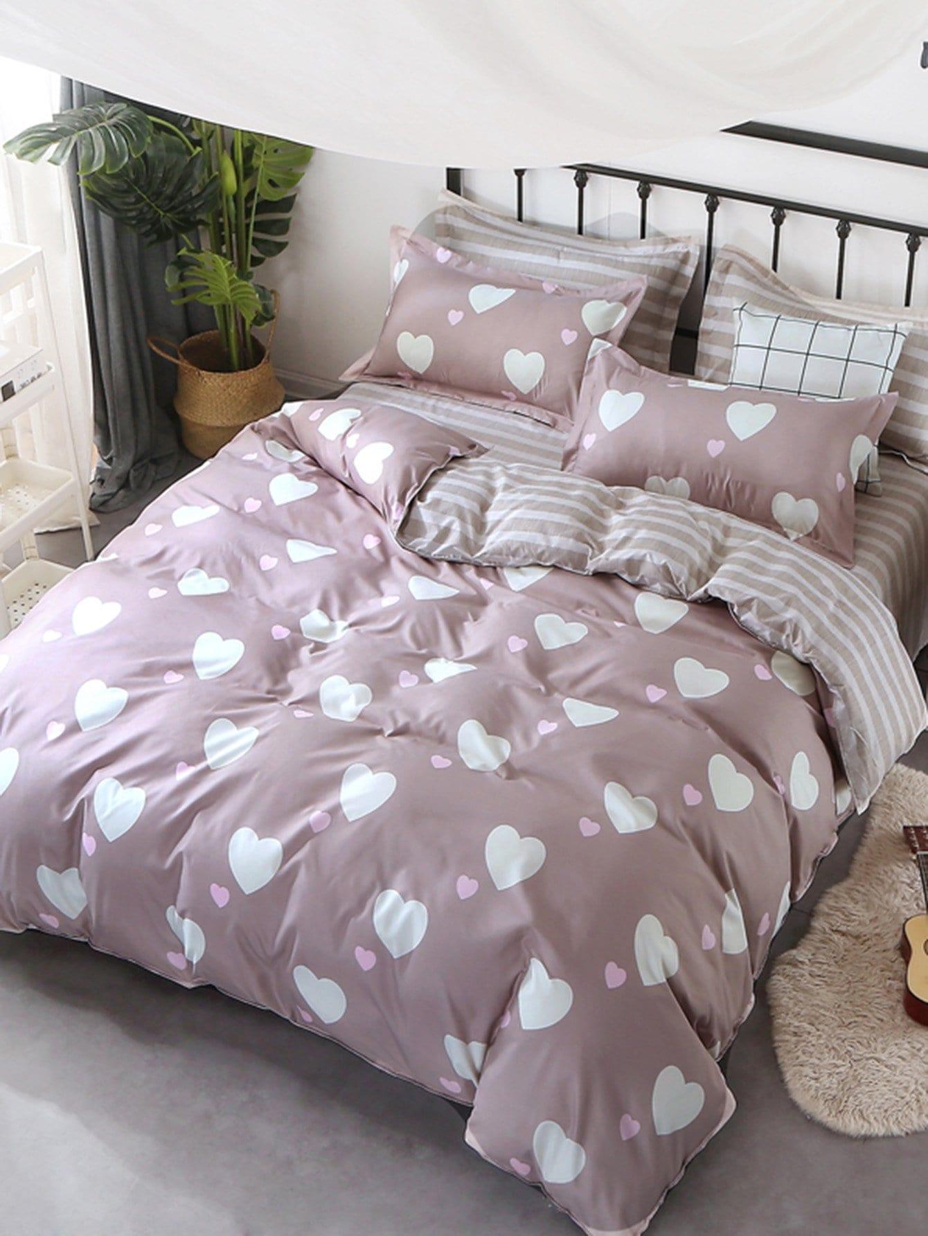 Купить Комплект полосатого постельного белья с рисунками сердцей, null, SheIn