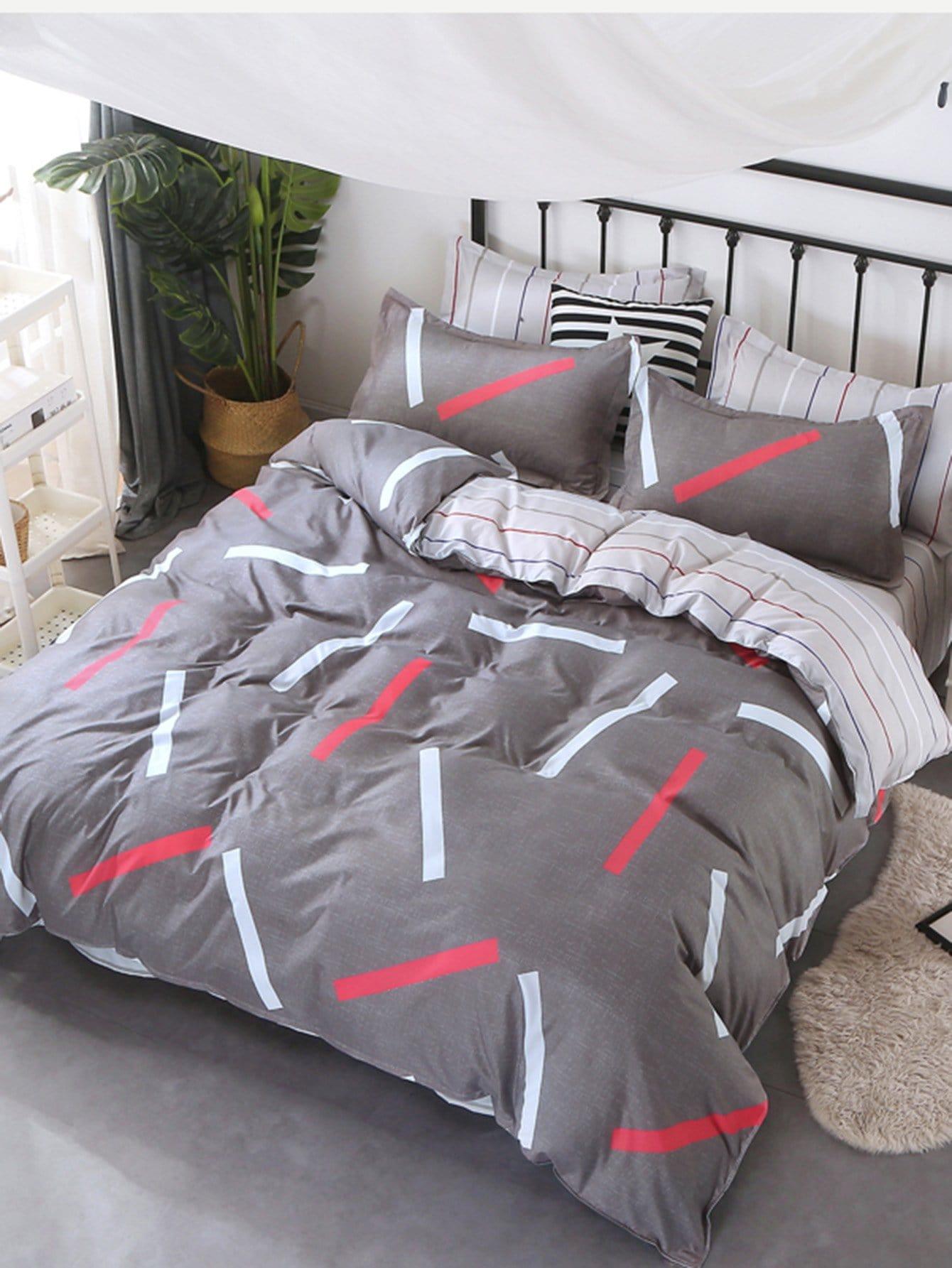 Купить Комплект полосатого постельного белья с рисунками геометрических фигур, null, SheIn