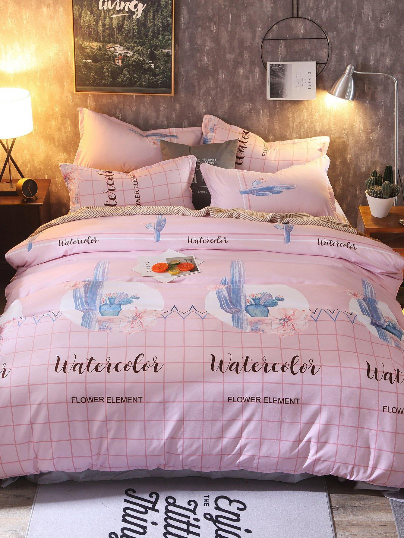 Купить Комплект постельного белья в клетку с рисункамирастений, null, SheIn