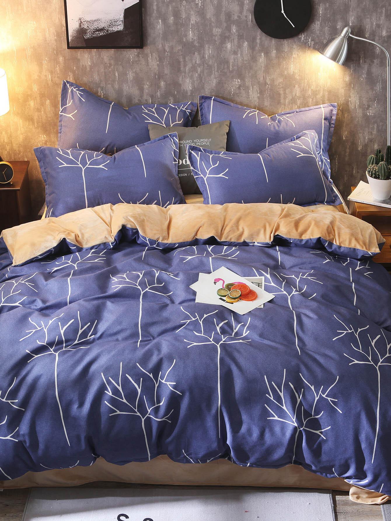 Купить Комплект постельного белья с рисунками ветк, null, SheIn