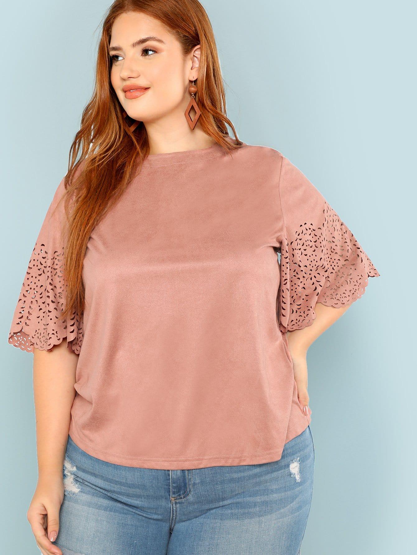 Купить Твердая блузка с широкими рукавами, Bree Kish, SheIn
