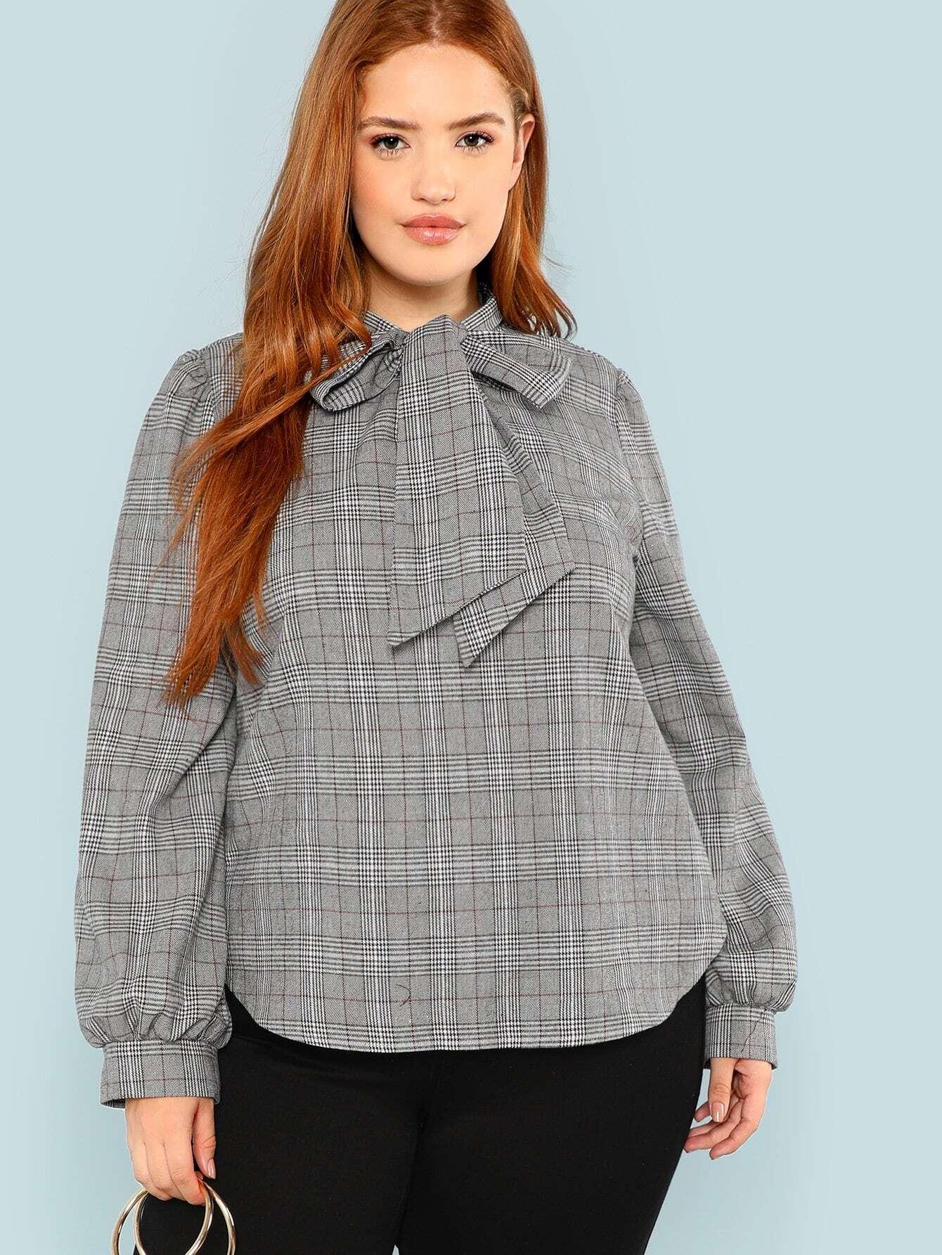 Купить Плюс размеры клетчатая блузка с выгнутым подолом и бантом, Bree Kish, SheIn