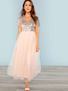 Sequin Bodice Mesh Dress