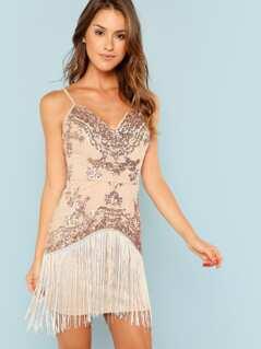 Fringe Embellished Cami Bodycon Dress