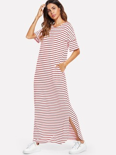 Side Slit Striped Maxi Tee Dress