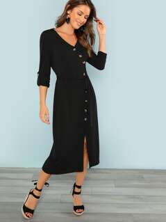 Button Through Surplice Wrap Split Dress